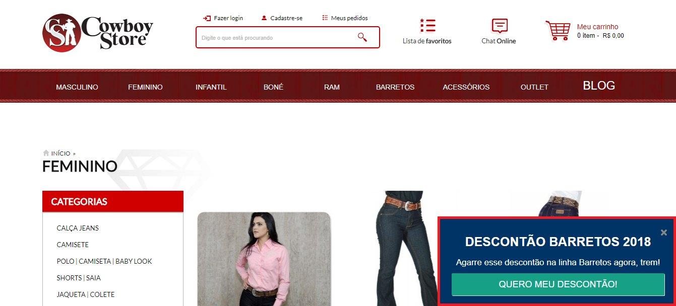 Exemplo de pop-up para gerar leads da loja Cowboy Store, Cliente Bis2Bis
