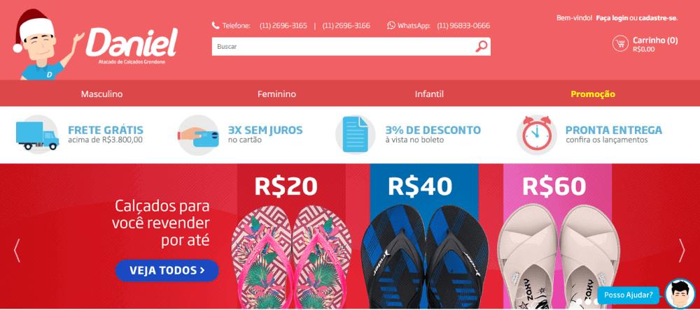 Homepage da Daniel Calçados, loja desenvolvida pela Bis2Bis.