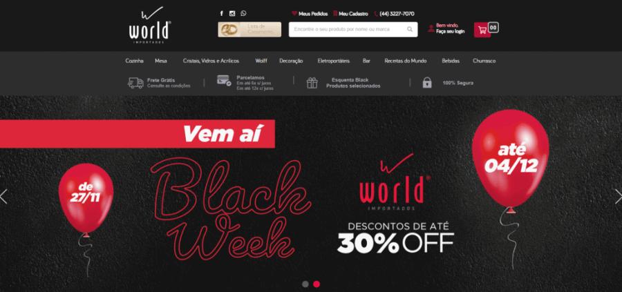 Homepage da World Importados, loja desenvolvida pela Bis2Bis.