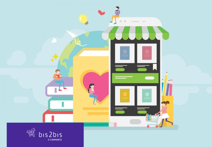 A imagem mostra a construção do mercado online, através de lojas, e-books, marketplaces e tudo o que ajuda os consumidores