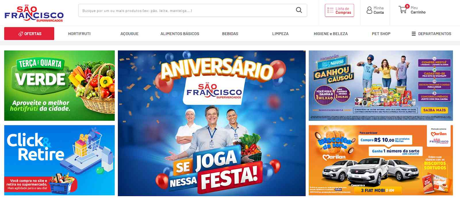 Print da loja virtual do supermercado São Francisco.