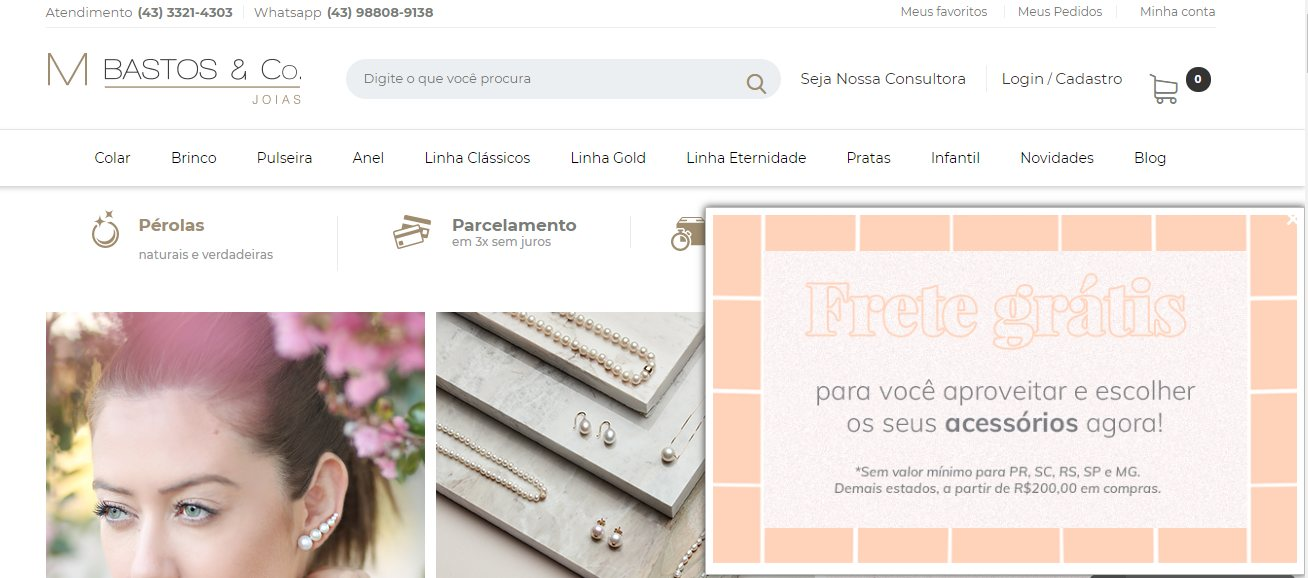 Exemplo do que é pop-up de desconto no e-commerce MBbastos joias, cliente Bis2bis
