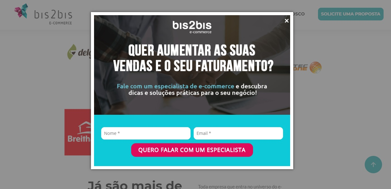 Exemplo do que é pop-up utilizado na Bis2Bis.