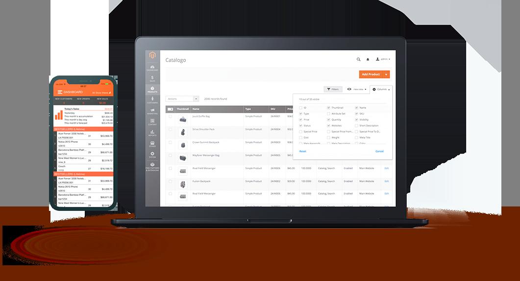 Mockup do Magento, plataforma que a Bis2Bis E-commerce utiliza como base e personaliza para desenvolver as lojas virtuais dos clientes