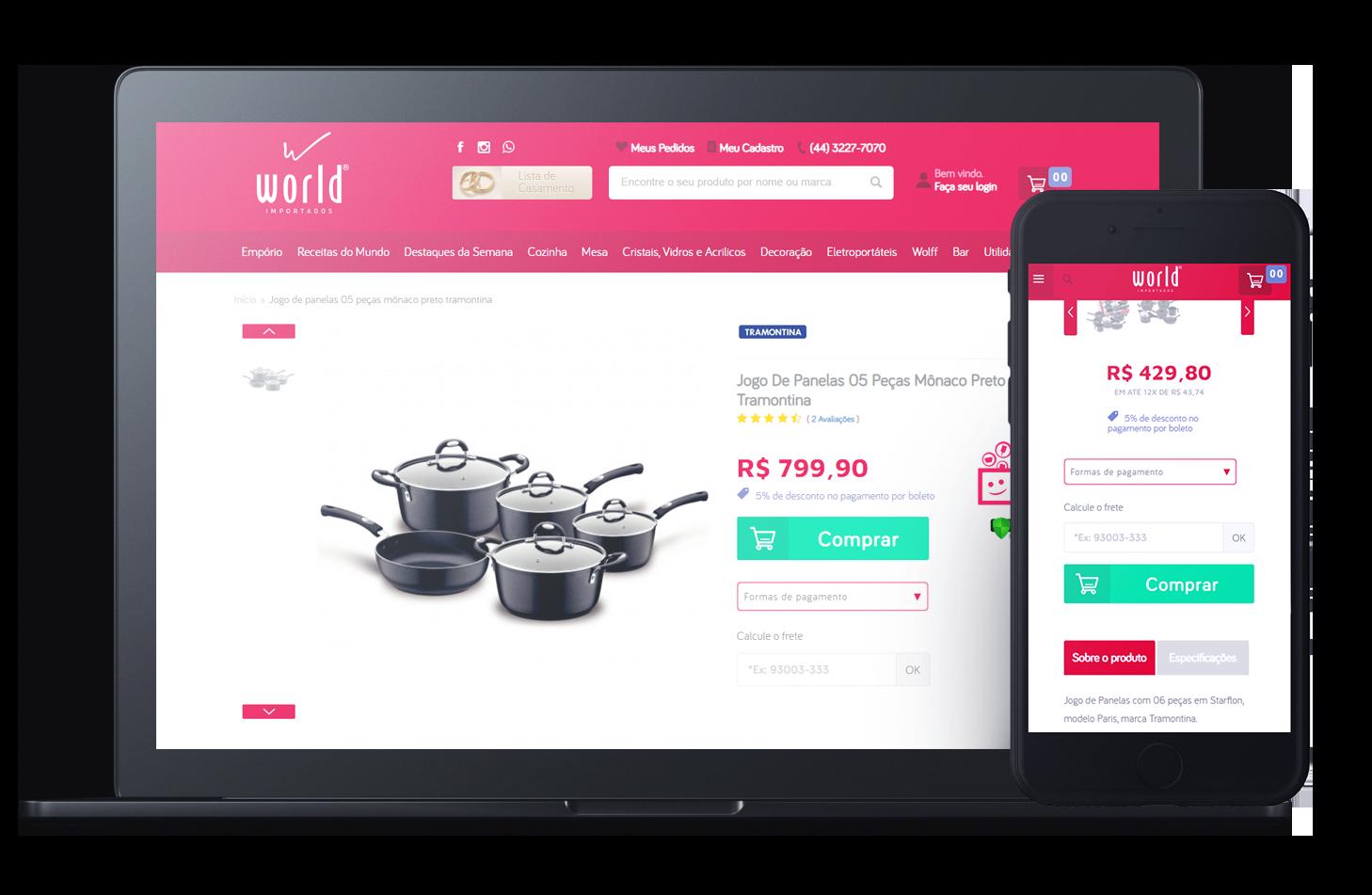 Mockup da loja virtual World Importados, desenvolvida com a Plataforma de E-commerce Magento Bis2Bis