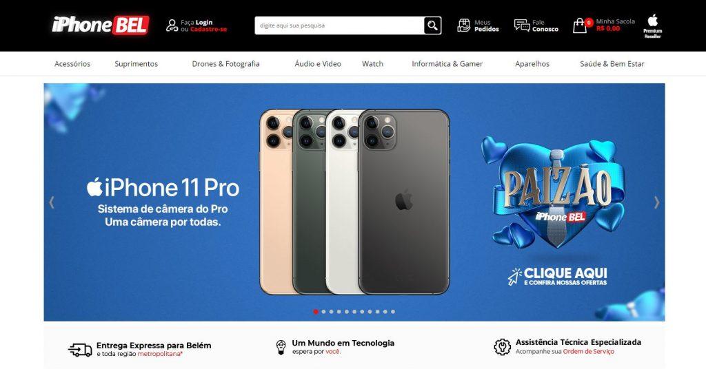 Imagem do site IphoneBel que organizou seu e-commerce para vender mais no Dia dos Pais.