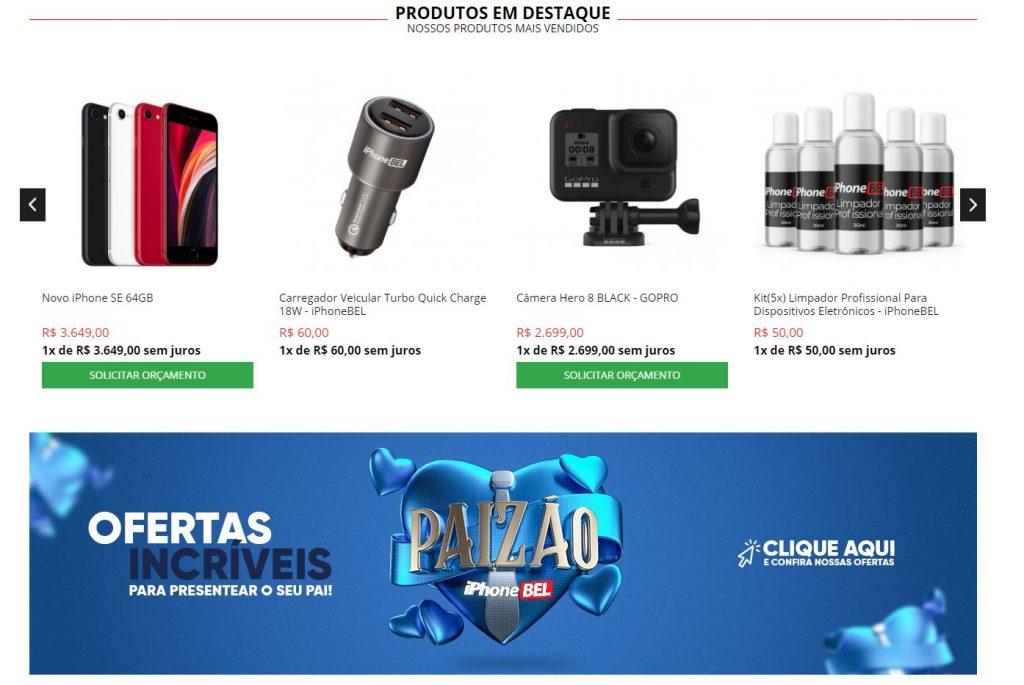 Continuação da imagem do site IphoneBel que organizou seu e-commerce para vender mais no Dia dos Pais.