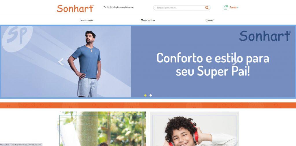 Imagem do site Sonhart que organizou seu e-commerce para vender mais no Dia dos Pais.