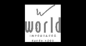 Logotipo da loja virtual World Importados, cliente da Bis2Bis, empresa que desenvolve Plataforma de E-commerce Magento