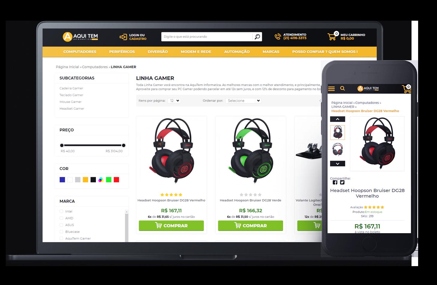 Mockup da loja virtual AquiTem Informática, desenvolvida com a Plataforma de E-commerce Magento Bis2Bis
