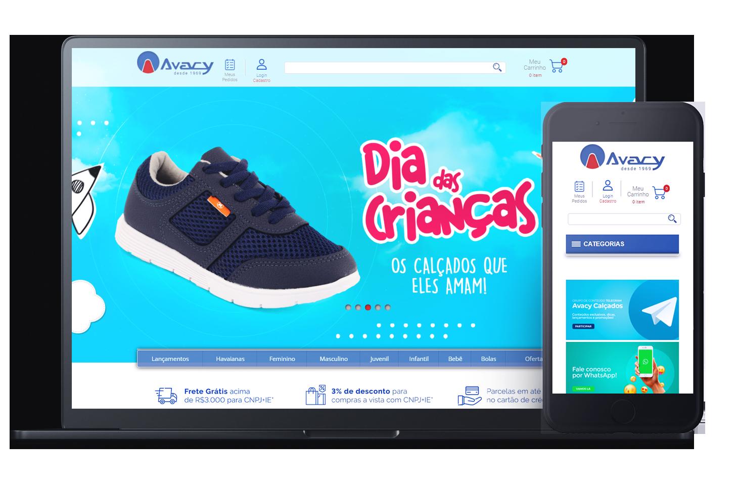 Mockup da loja virtual Avacy cliente da Plataforma de E-commerce Magento Bis2Bis