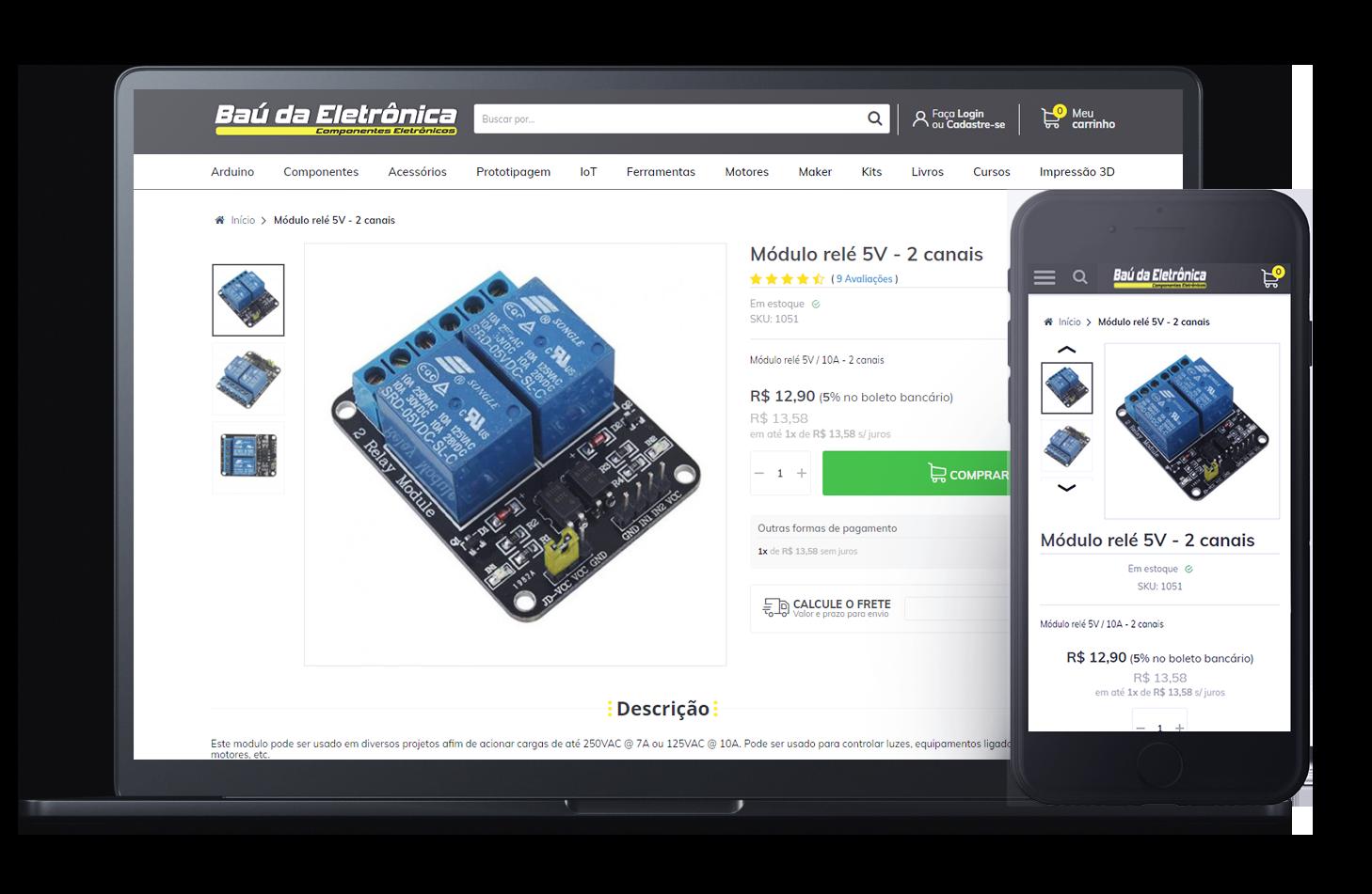 Mockup da loja virtual Baú da Eletrônica, desenvolvida com a Plataforma de E-commerce Magento Bis2Bis