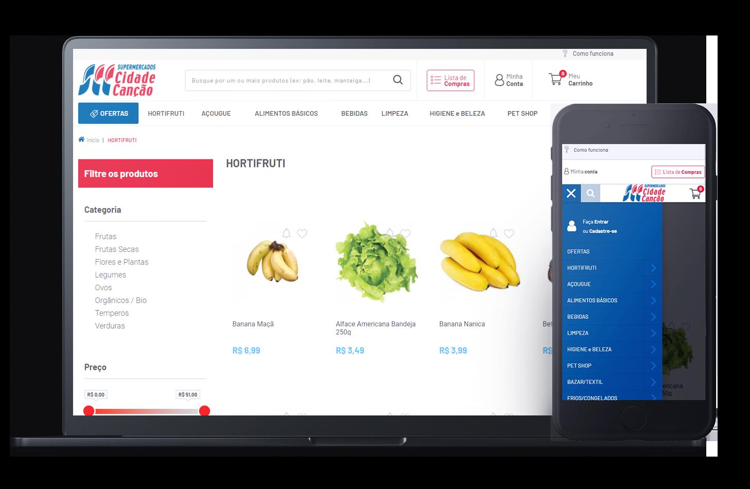 Mockup da loja virtual Supermercados Cidade Canção, desenvolvida com a Plataforma de E-commerce Magento Bis2Bis