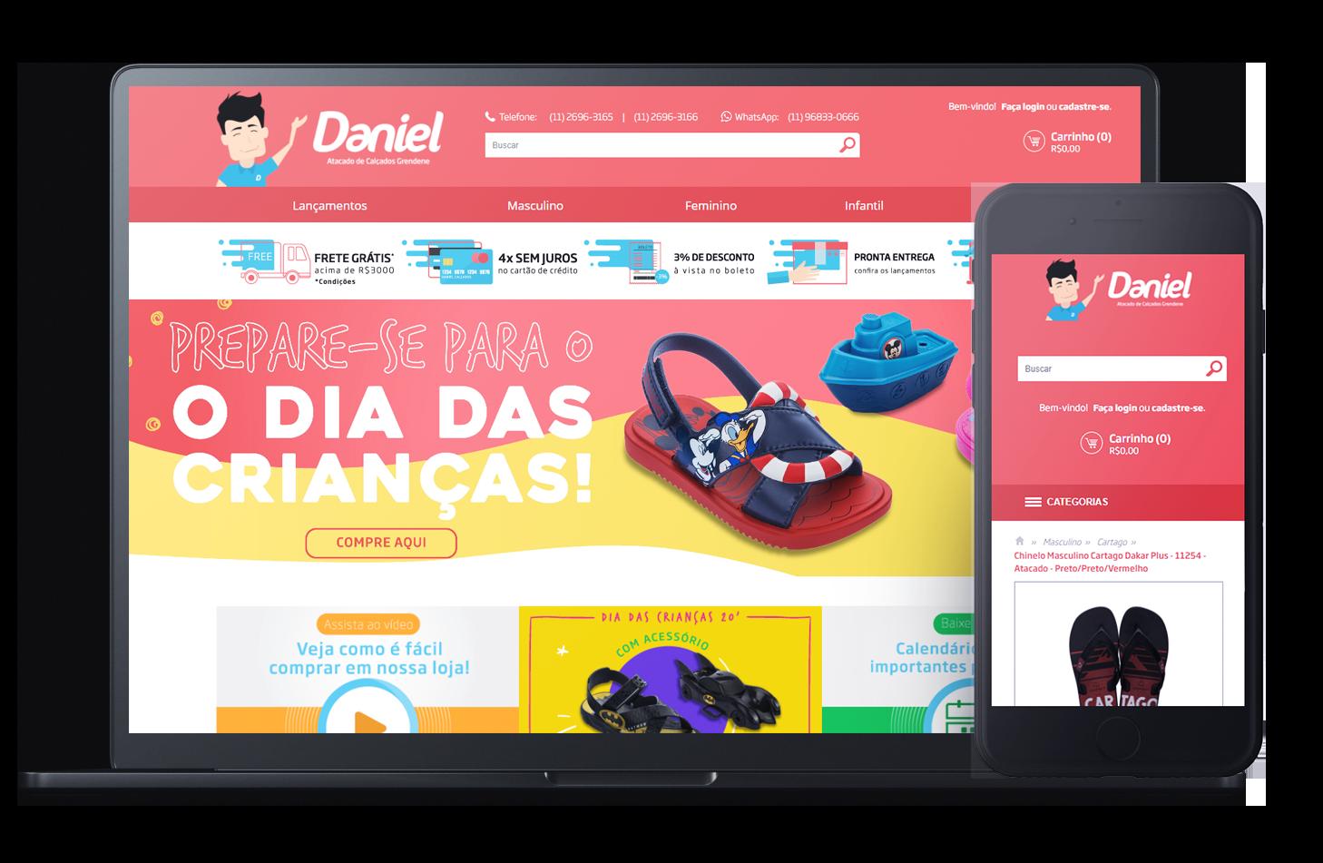 Mockup da loja virtual Daniel Calçados, desenvolvida com a Plataforma de E-commerce Magento Bis2Bis