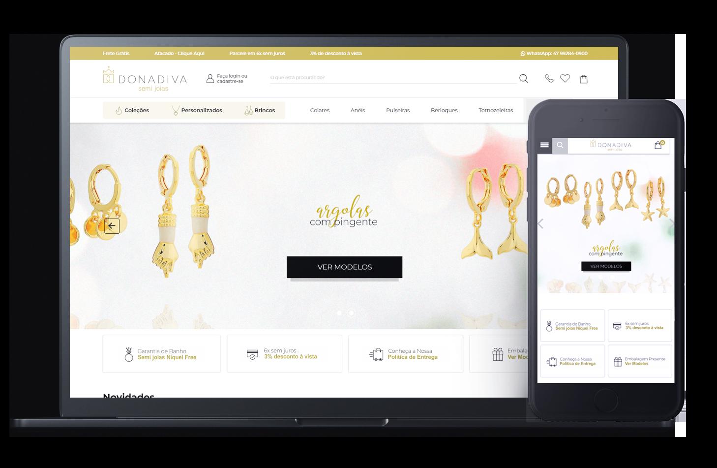 Mockup da loja virtual Donadiva, desenvolvida com a Plataforma de E-commerce Magento Bis2Bis