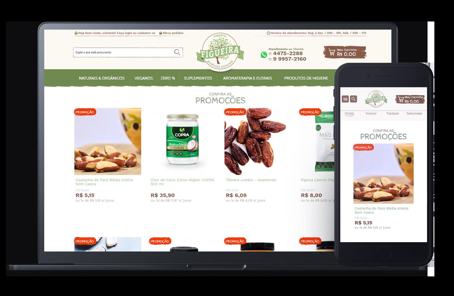 Mockup da loja virtual Empório Figueira, desenvolvida com a Plataforma de E-commerce Magento Bis2Bis