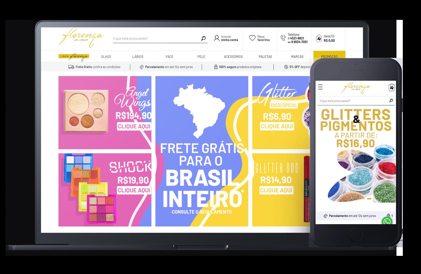 Mockup da loja virtual Florenza, desenvolvida com a Plataforma de E-commerce Magento Bis2Bis