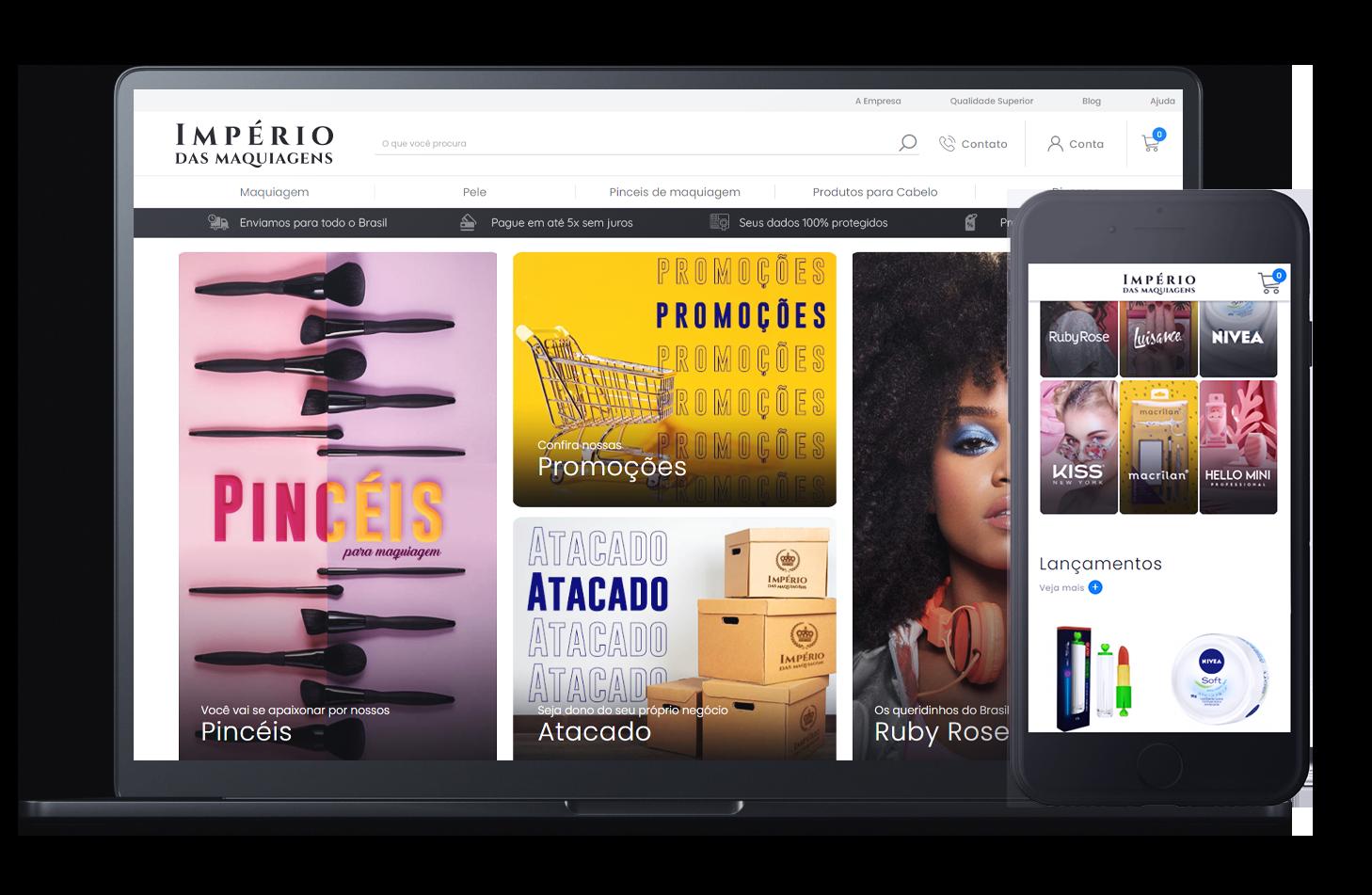 Mockup da loja virtual Império das Maquiagens, desenvolvida com a Plataforma de E-commerce Magento Bis2Bis