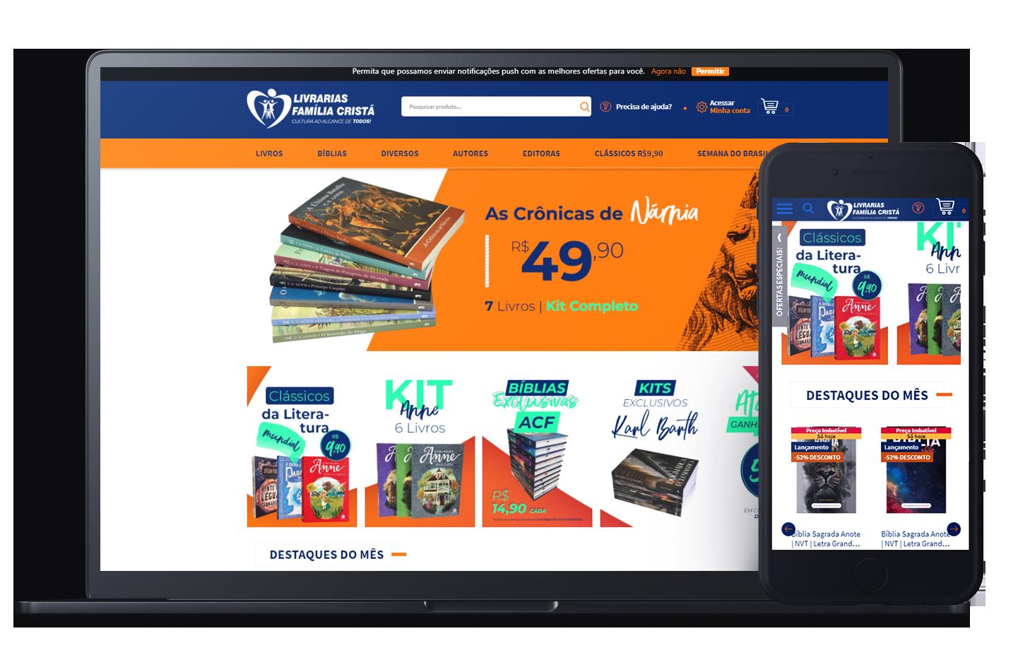 Mockup da loja virtual Livrarias Família Cristã, desenvolvida com a Plataforma de E-commerce Magento Bis2Bis