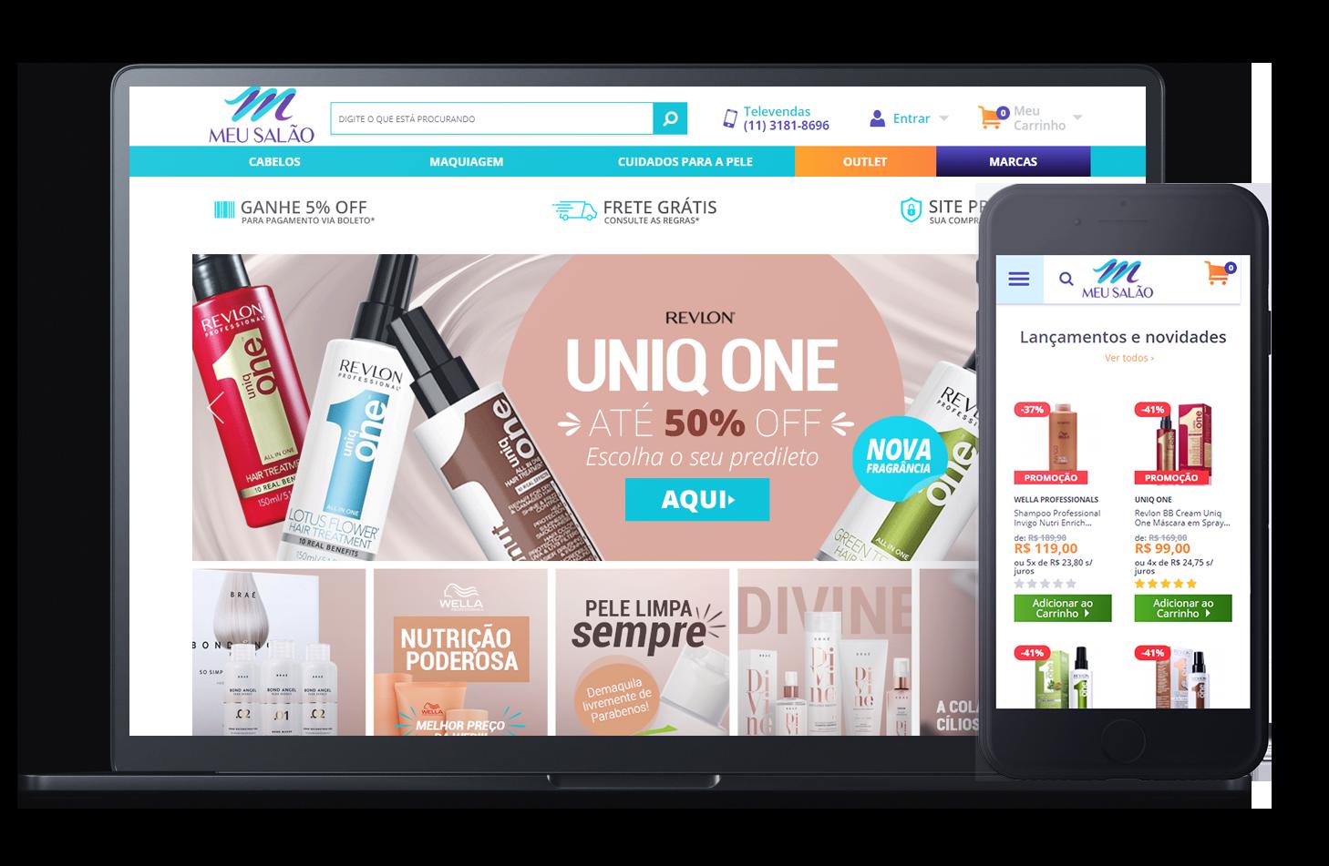 Mockup da loja virtual Meu Salão, desenvolvida com a Plataforma de E-commerce Magento Bis2Bis