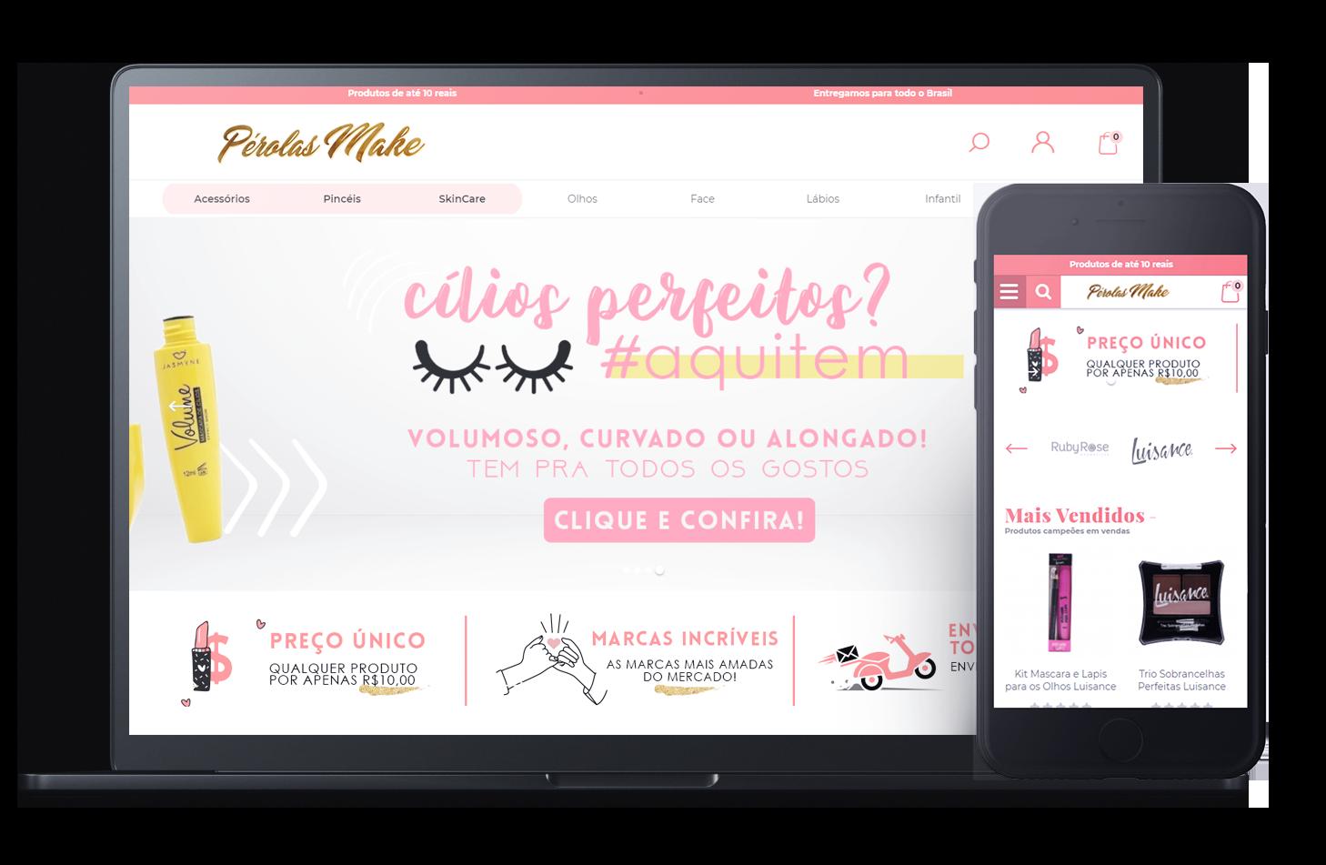 Mockup da loja virtual Pérolas Make, desenvolvida com a Plataforma de E-commerce Magento Bis2Bis