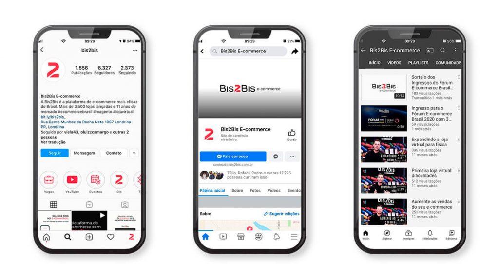 A Bis2Bis E-commerce está presente nessas redes sociais, criando um relacionamento com cliente diretamente dentro e fora das plataformas.