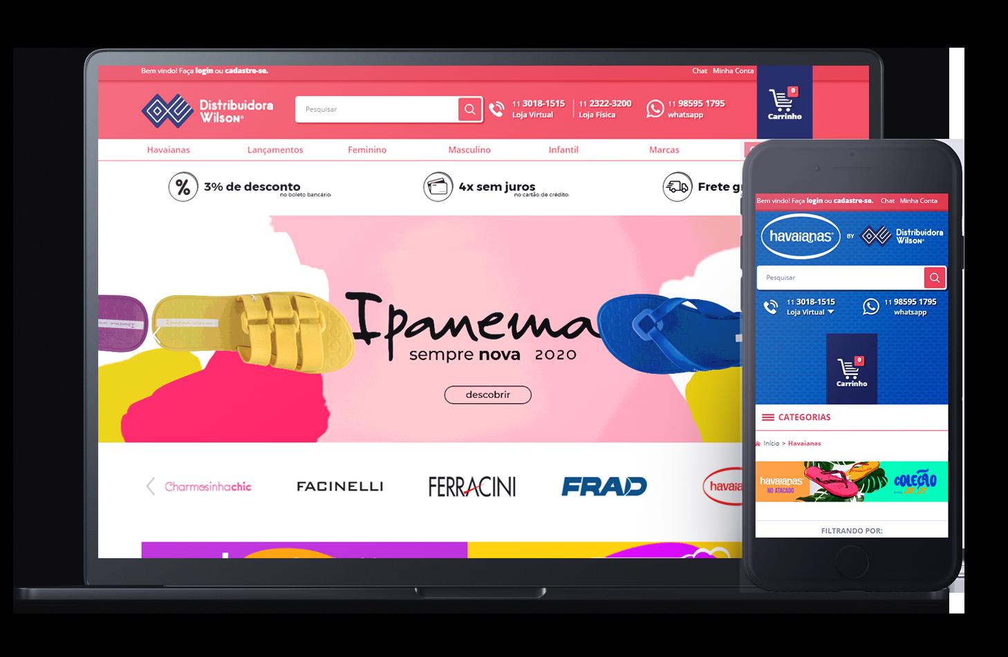Mockup da loja virtual Distribuidora Wilson, desenvolvida com a Plataforma de E-commerce Magento Bis2Bis