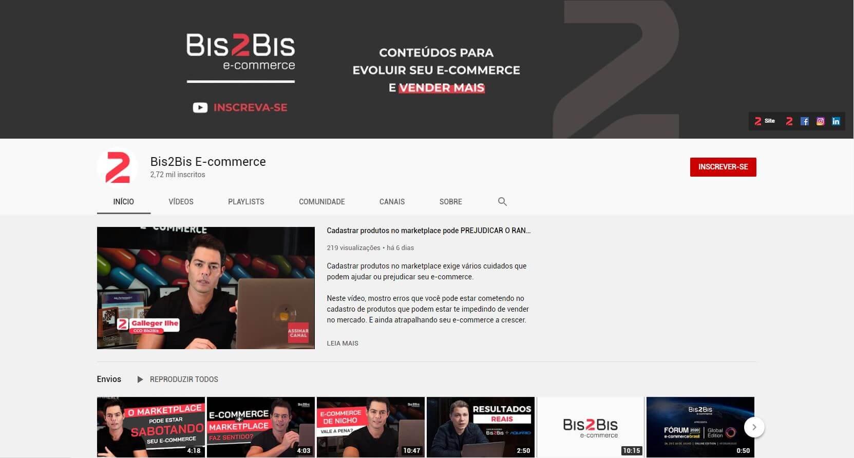 Print do canal do Youtube da Bis2Bis E-commerce, uma das redes sociais para loja virtual
