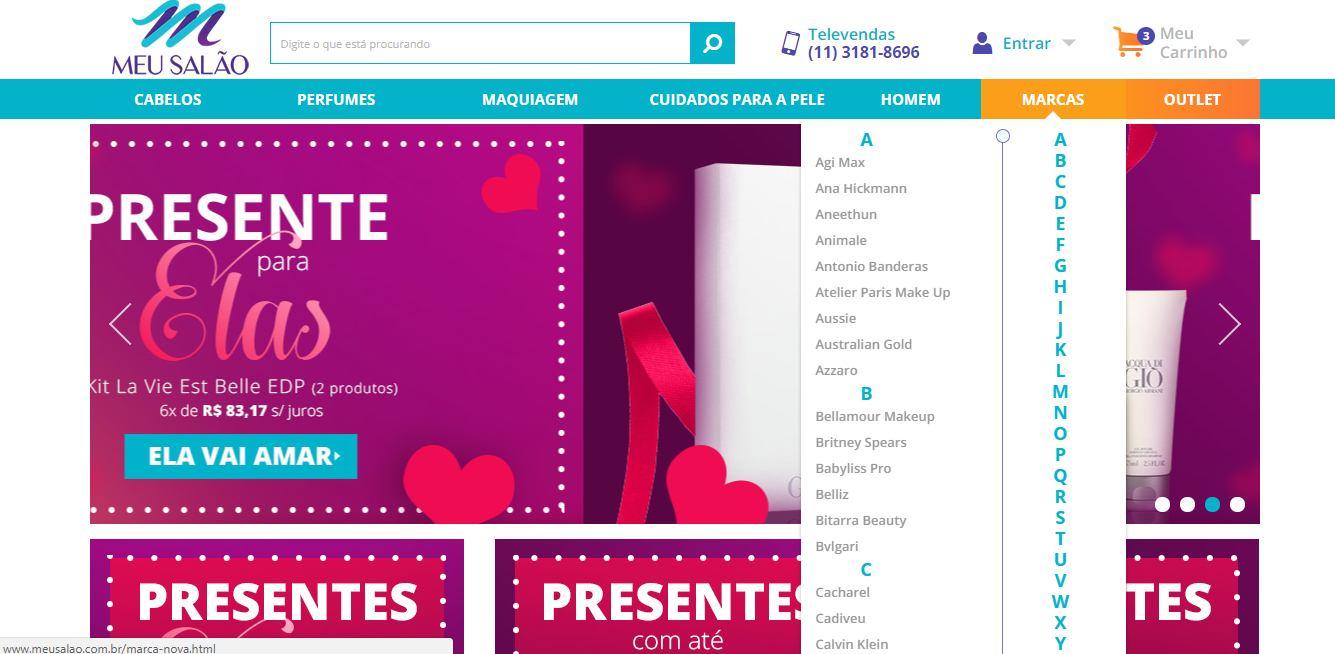 Exemplo de E-commerce de cosméticos desenvolvido pela Bis2Bis.