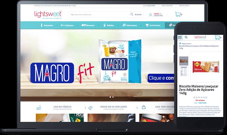 Loja Lightsweet, case de sucesso Bis2Bis Desenvolvimento de lojas virtuais