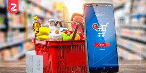 A imagem mostra o e-commerce para supermercado na prática