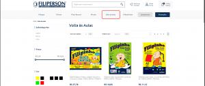 """Categoria """"Volta às aulas"""" da Loja Virtual Filiperson, desenvolvida pela Bis2Bis E-commerce"""